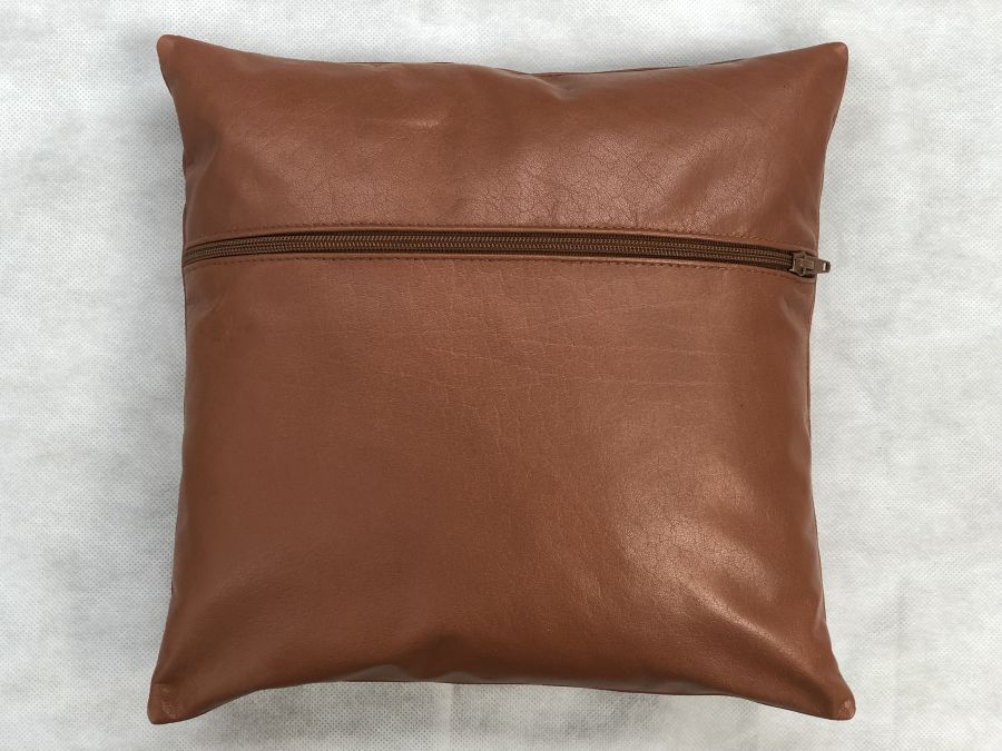 Real Leather Cushion Pad Tan 12 inch x 12 inch