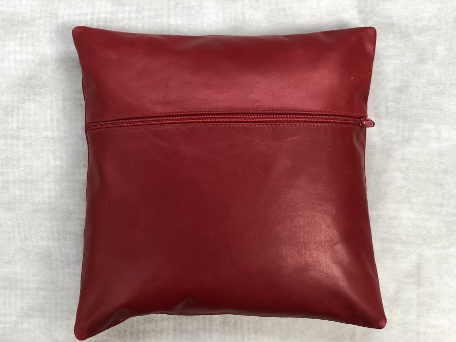Real Leather Cushion Pad Red 12 inch x 12 inch