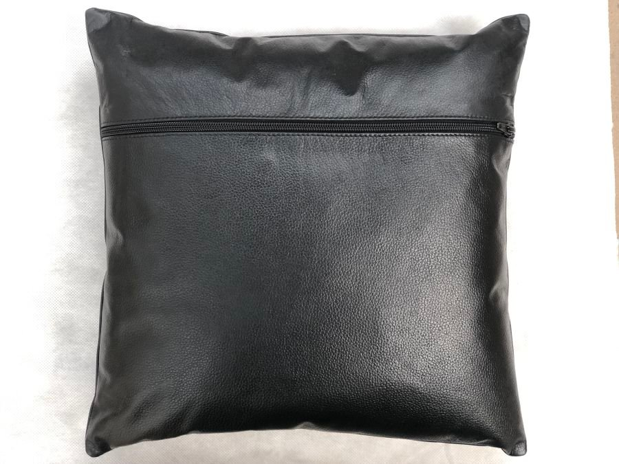 Real Leather Cushion Pad Black 12 inch x 12 inch