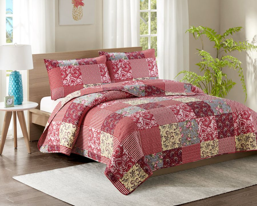 Single Bed Quilted Bedspread YJ7 Pink