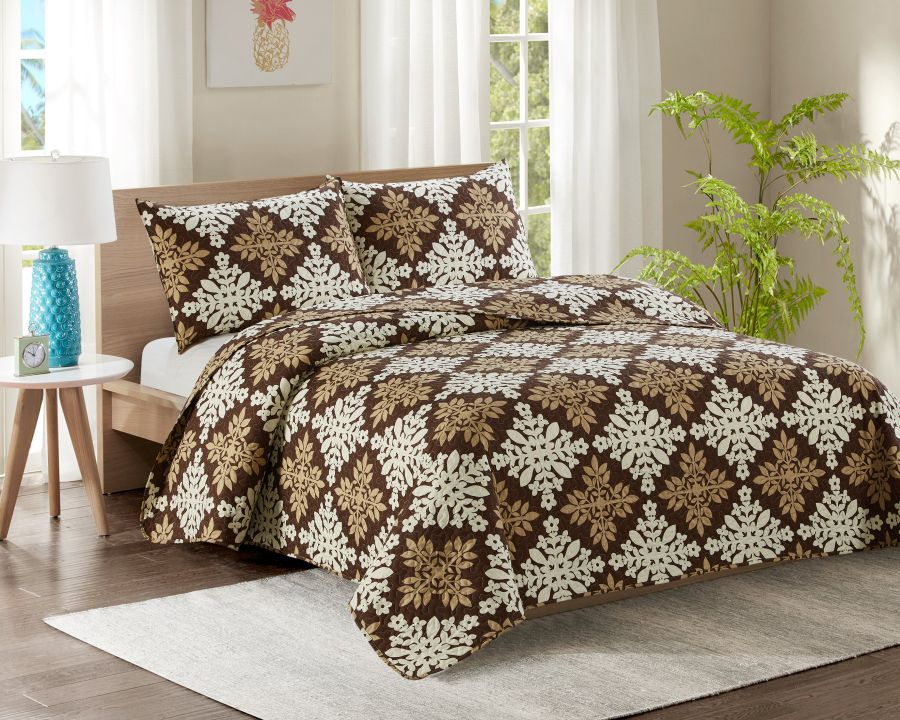 Double Bed Quilted Bedspread YJ1 Gold Brown