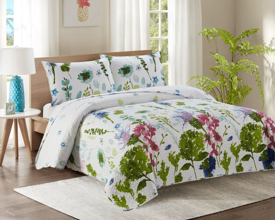 Double Bed Quilted Bedspread YJ14 White