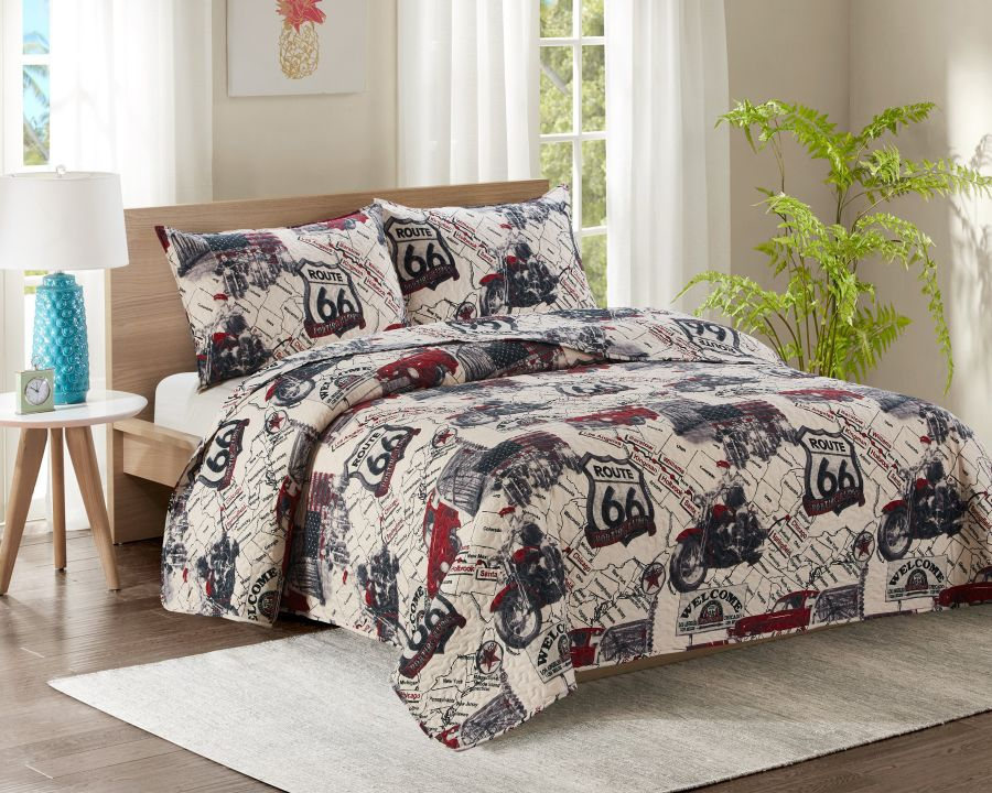 Double Bed Quilted Bedspread YJ21 Route 66