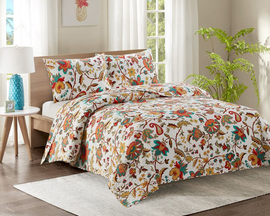 King Bed Quilted Bedspread YJ3 Flowers