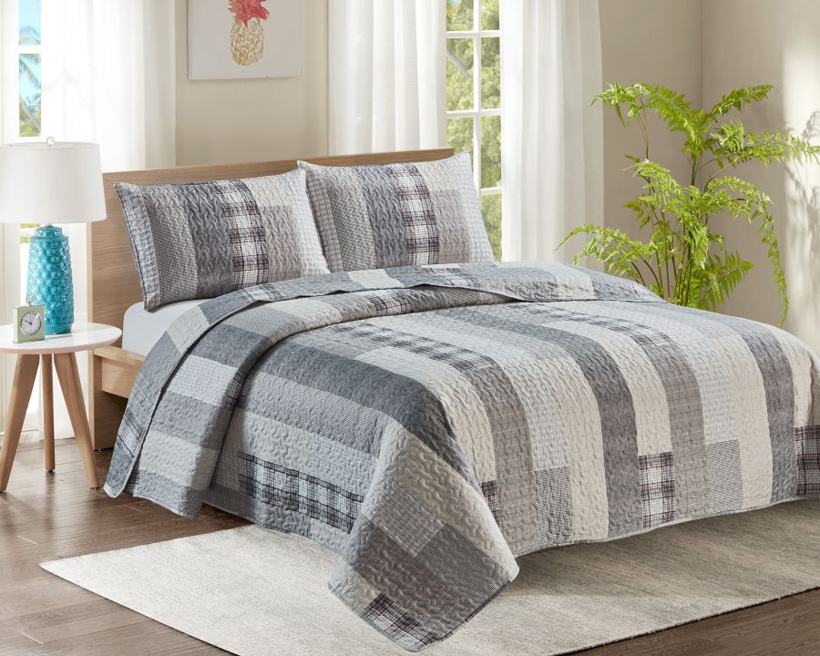 King Bed Quilted Bedspread YJ5 Grey Stripes