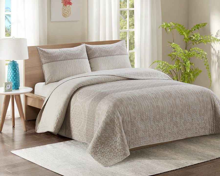 King Bed Quilted Bedspread YJ12 Biscuit