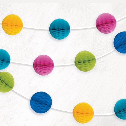 Multi-Colour Honeycomb Ball Garland - 7ft (1)