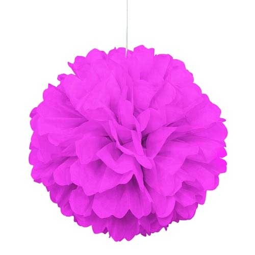 16 INCH HOT PINK TISSUE PAPER DÉCOR PUFF BALL