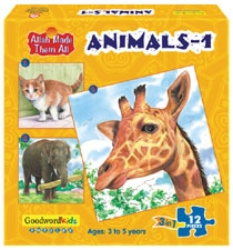 Animals-1 (Box of three puzzles)