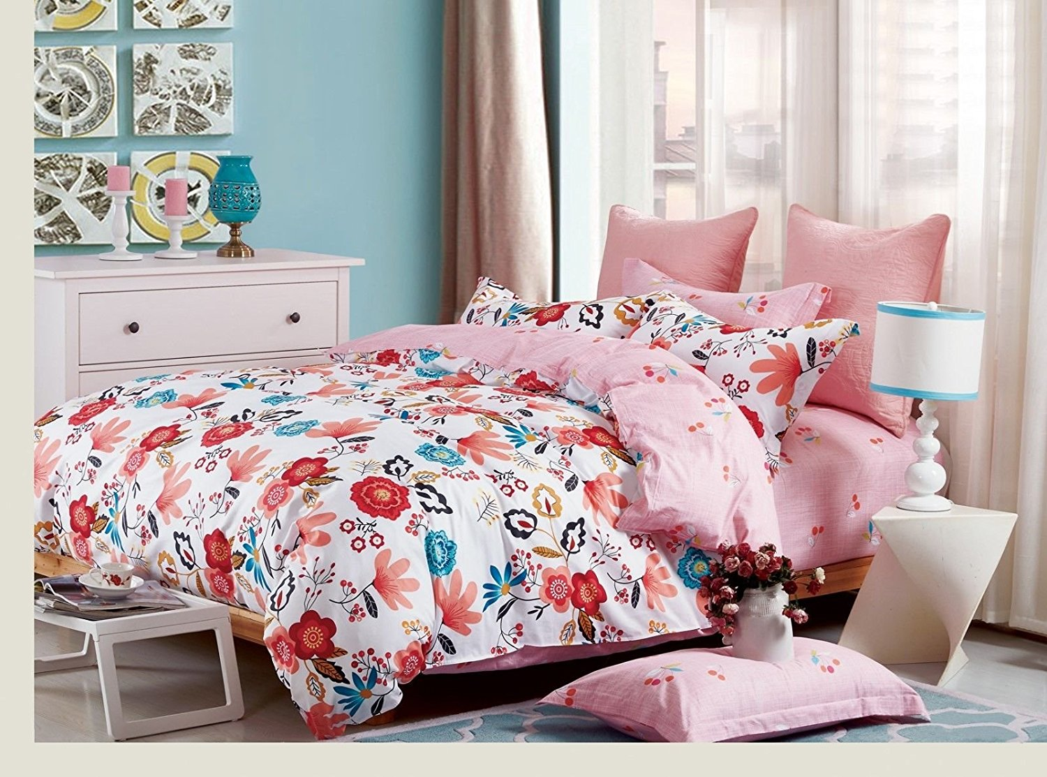 Floral and Cherry King Bed Duvet Set