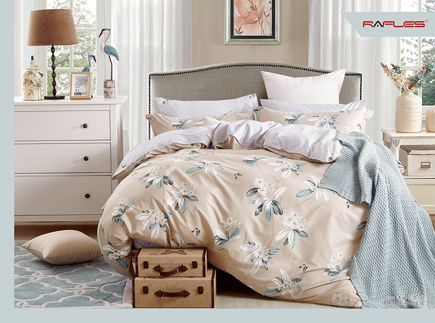 King Bed Duvet Set in Blush Pink