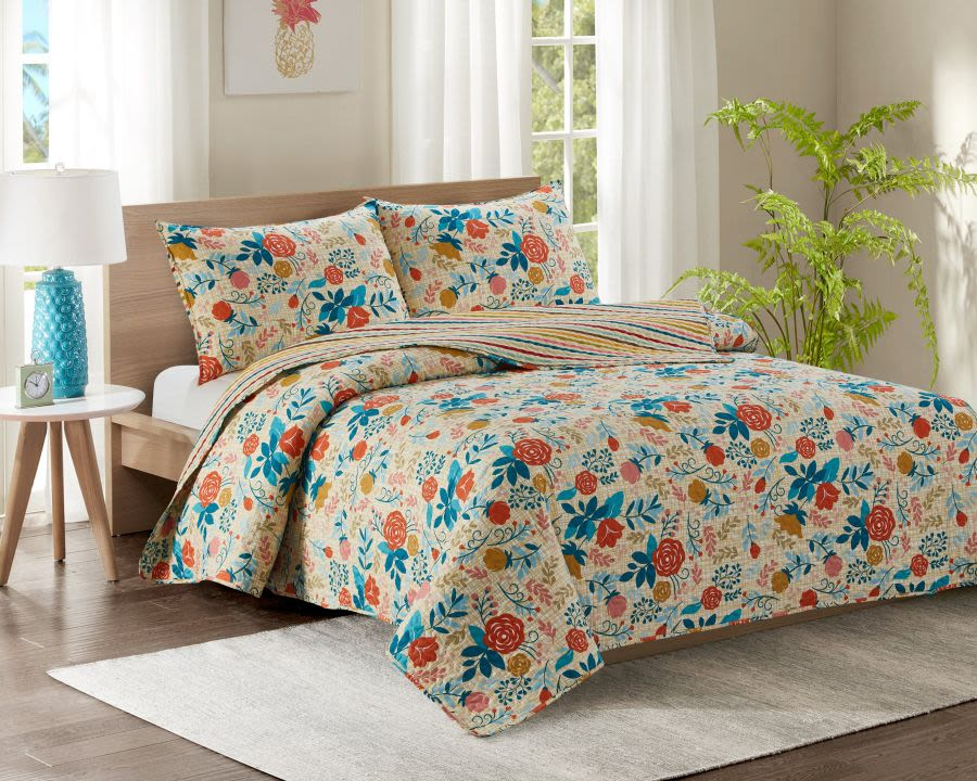 Blue and Orange Floral Single Bed Quilted Bedspread
