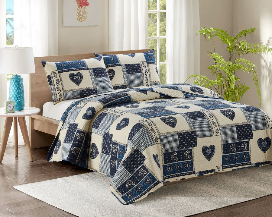 Blue Patchwork Double Bed Quilted Bedspread
