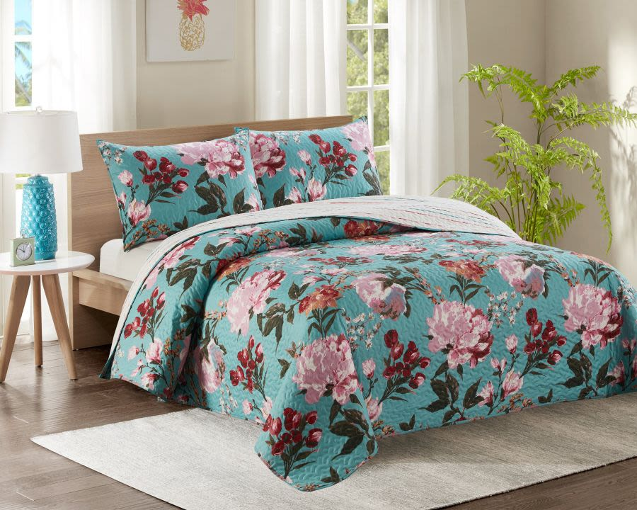 Teal Floral King Bed Quilted Bedspread