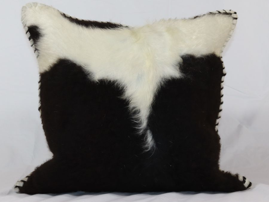 Black And White Cow Hide Leather Cushion - 18x18