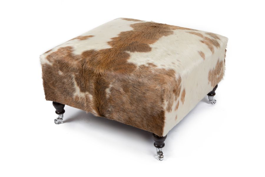 Brown and Leather Cowhide Footstool