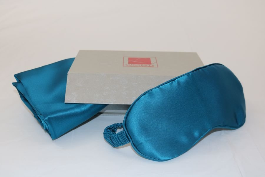 100% Silk Turqoise Pillowcase and Eye Mask