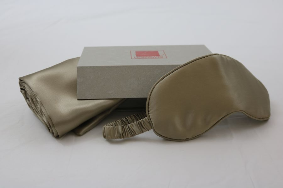 100% Silk Taupe Pillowcase and Eye Mask