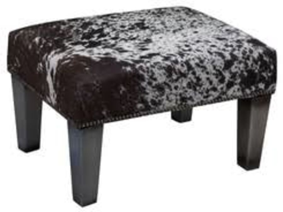 18 inch x 24 inch Brown Cowhide Footstool / Ottoman