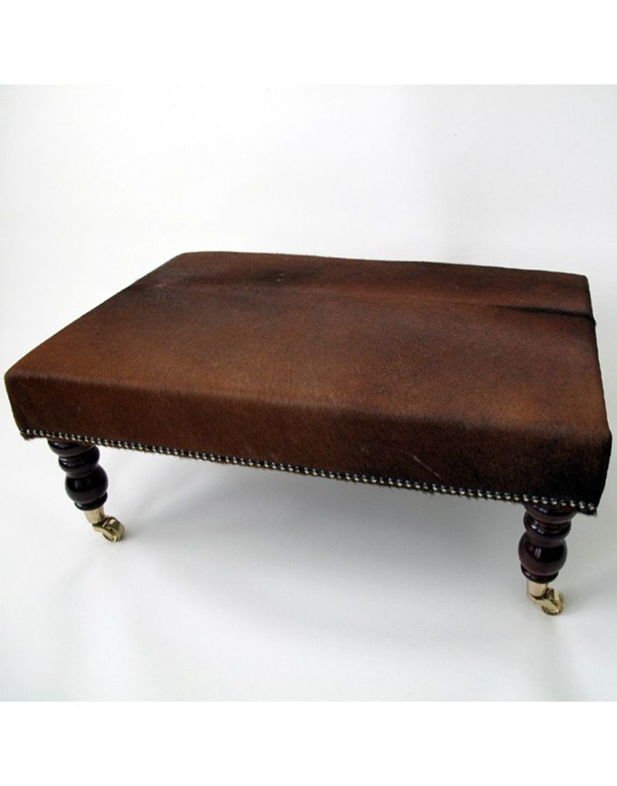 20 inch x 30 inch Brown Cowhide Footstool / Ottoman_copy