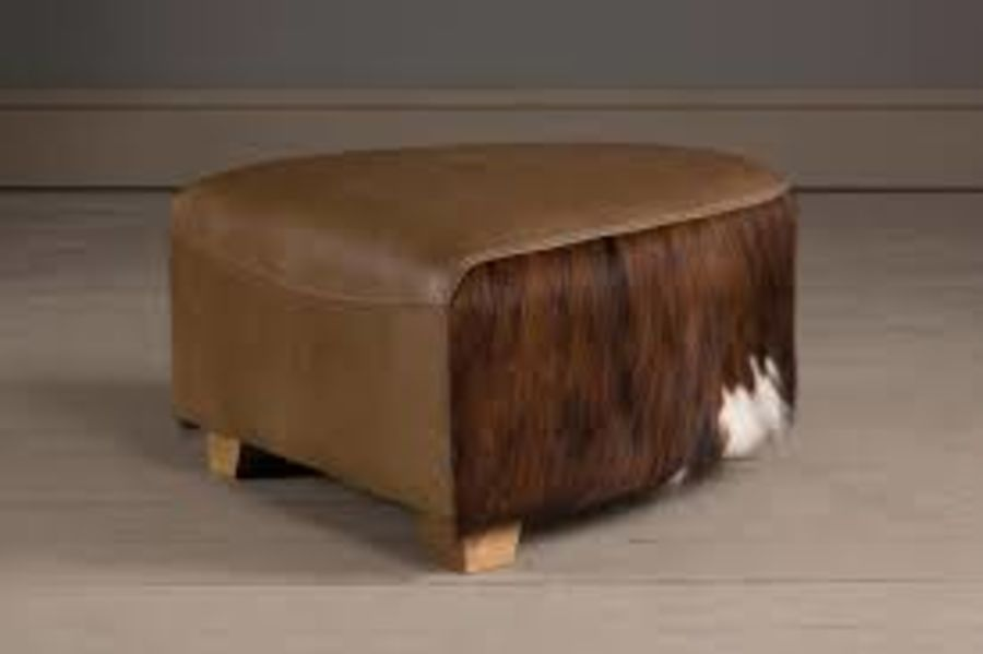 Curved Brown and Leather Cowhide Footstool