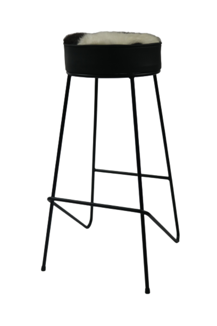 Black and White and Leather Cowhide Bar Stool
