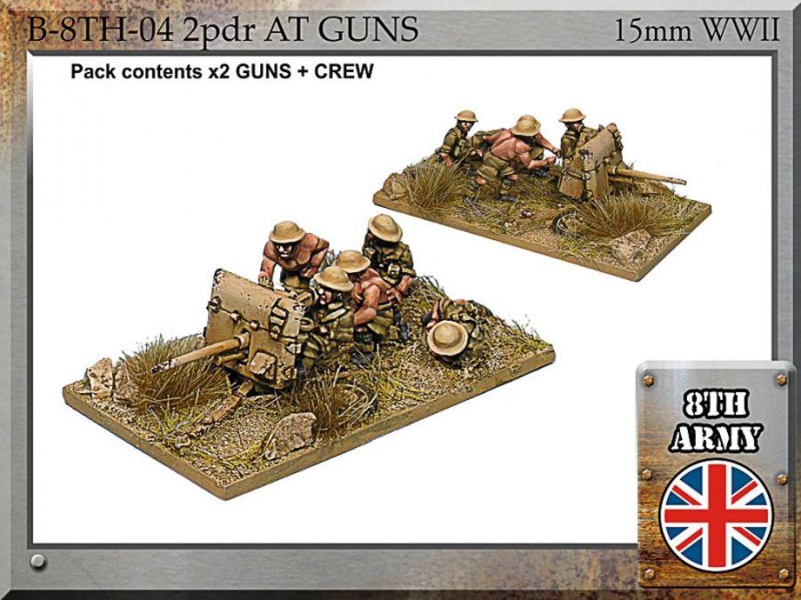 8th Army British 2 pdr anti-tank guns + Crew - 15mm WWII FiB