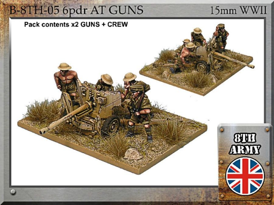 8th Army British 6pdr anti-tank guns - 15mm WWII FiB