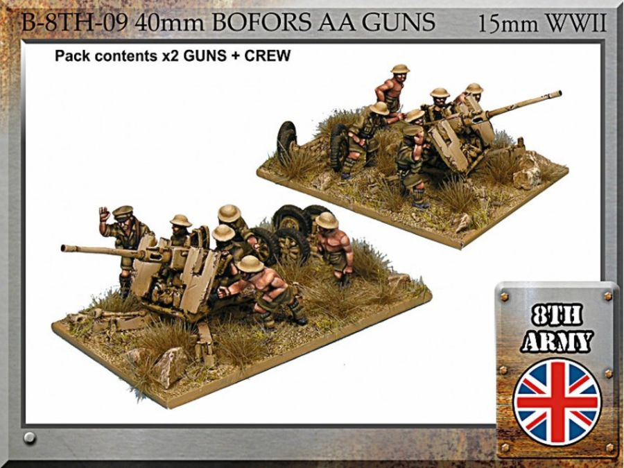 8th Army British 40mm Bofors AA gun and crew - 15mm WWII