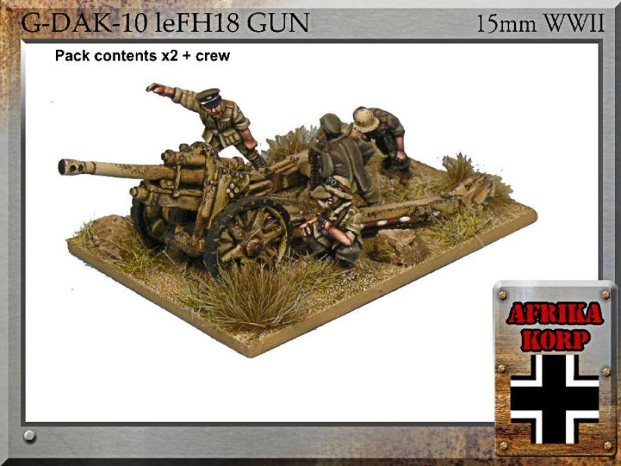Afrika Korps leFH18, 10.5cm Gun & Crew - 15mm WWII FiB