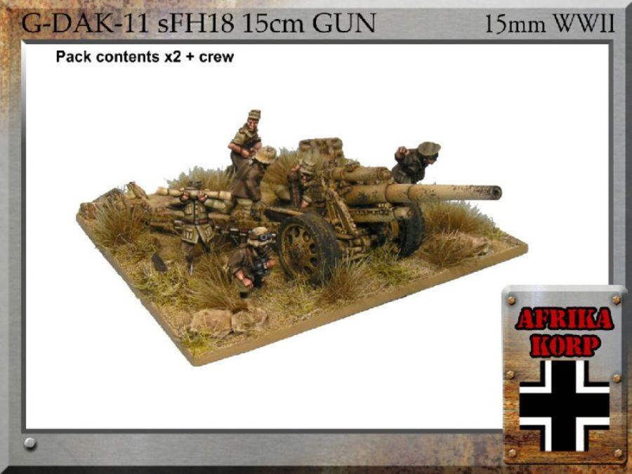 Afrika Korps sFH18, 15cm Gun & Crew - 15MM WWII FiB