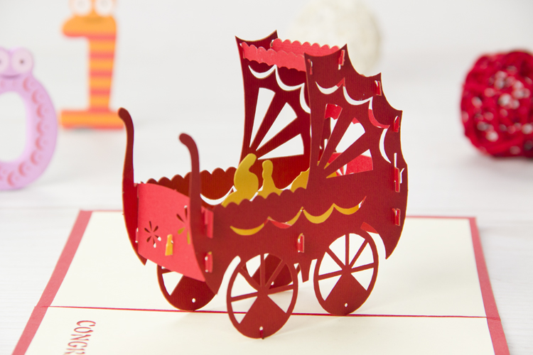 Baby Carriage 3D Pop Up Card
