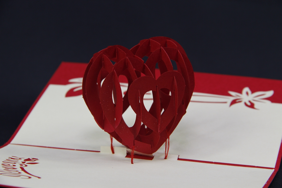 Love Heart Hollow Red Pop Up Card