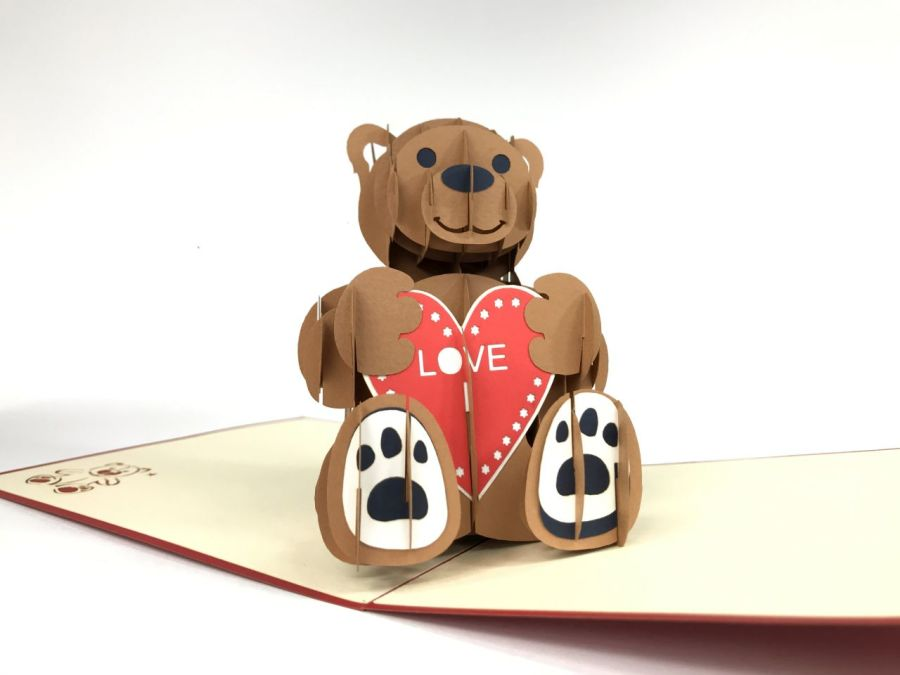 Love Teddy Bear Pop Up Card