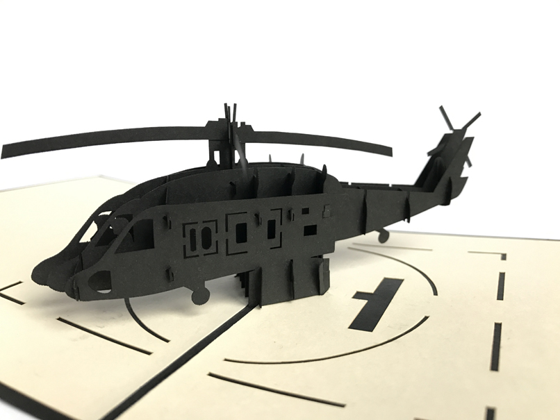 Black Hawk Helic Pop Up Card