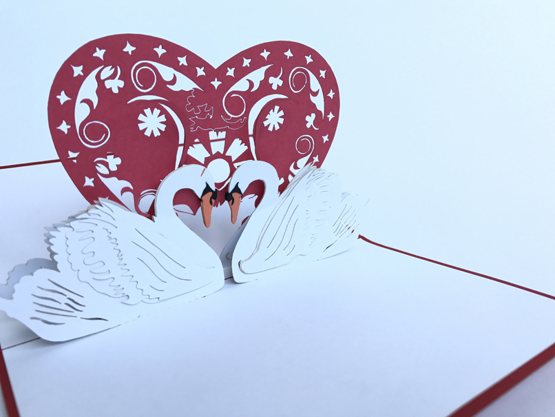 Love Swans Pop Up Card