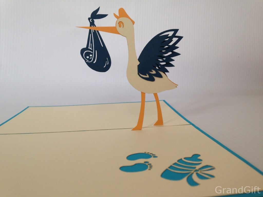 Baby Stork Pop Up Card