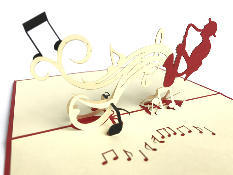 Saxophonist Pop Up Card