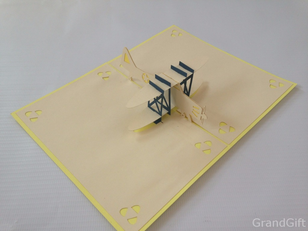 Yellow Plane Pop Up Card