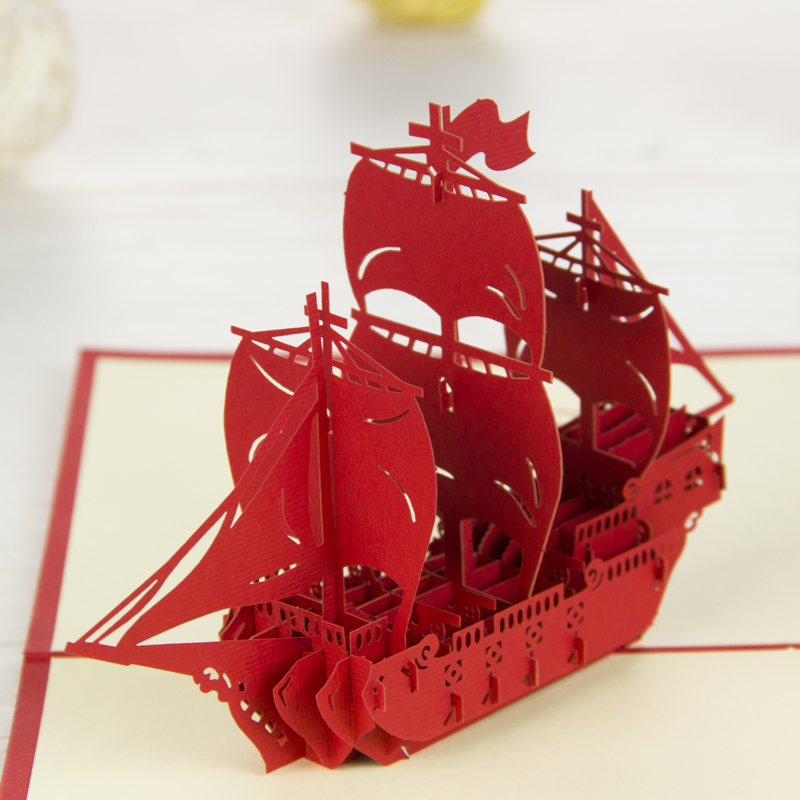 Red Sailing Boat Pop Up Card