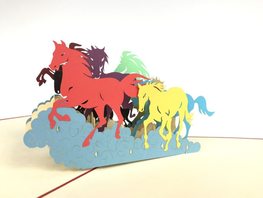 Horse Running Pop Up Card