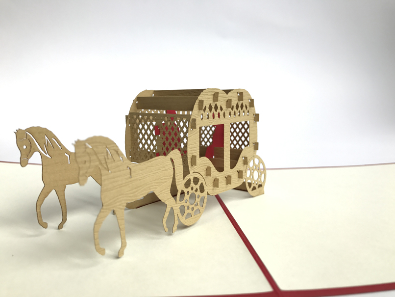 Red Horse Carriage Pop Up Card