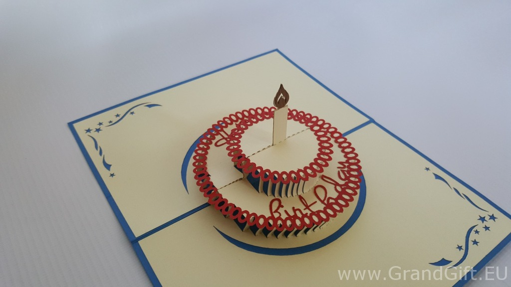 Birthday One Candle Cake  Pop Up Card