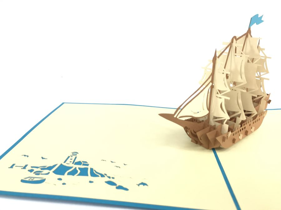 Wooden Sailing Boat Pop Up Card
