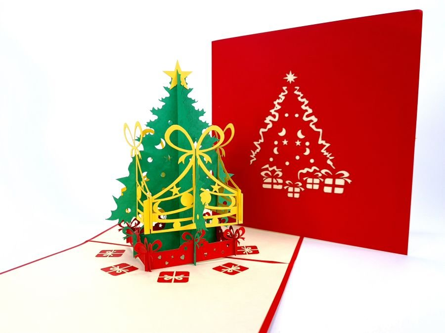 Christmas Tree With Presents Pop-Up Card