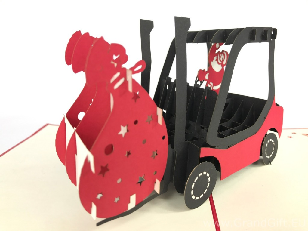 Santa Claus Forklift Pop Up Card