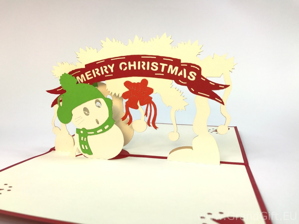 Merry Christmas Snowman Pop Up Card