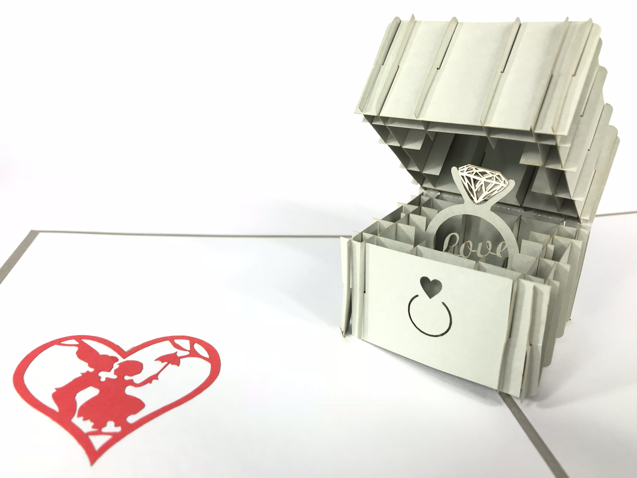 Engagement Silver Ring Pop Up Card