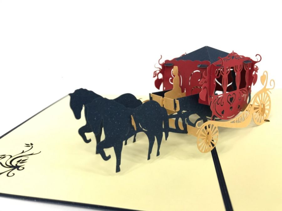Carriage Blue Pop Up Card
