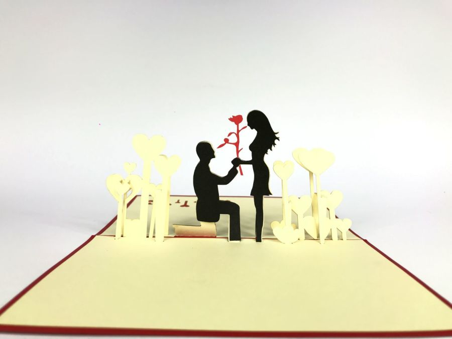 Couple Engagement Rose Pop Up Card